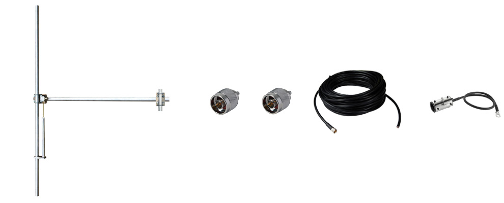 Complete Package composed by:   1 Bay Dipole FM Antenna - Wide Band - Aluminum, 30 meters of 1/2 inch Coaxial Cable with connectors, grounding kit, hanging kit, Hoisting Grip and Wall/Roof Thru kit. N Input Connector - Max Power: 800W-Gain: 2dBd
