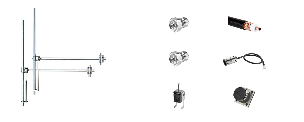 Complete Package composed by:  2 Bay Dipole FM Antenna - Wide Band - Aluminum, 30 meters of 1/2 inch Coaxial Cable with connectors, grounding kit, hanging kit, Hoisting Grip and Wall/Roof Thru kit. 7/16 Input Connector - Max Power: 1,5kW-Gain: 5dBd