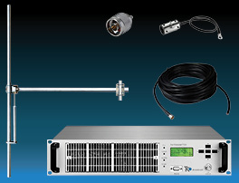package 300W fm transmitter with 1 bay dipole fm antenna and accessories - wide band aluminium miniature