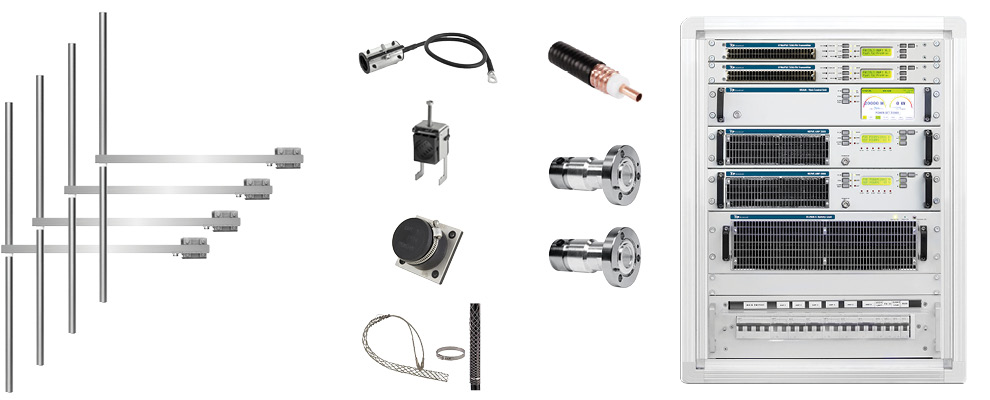 Package  4kW FM Transmitter with 4 Bay Dipole FM Antenna and Accessories - Wide Band - Stainless