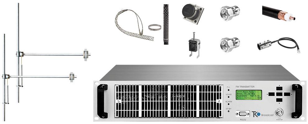 paquet 1,2kw émetteur fm avec 2 baie dipôle fm antennes y accessoires large bande aluminium