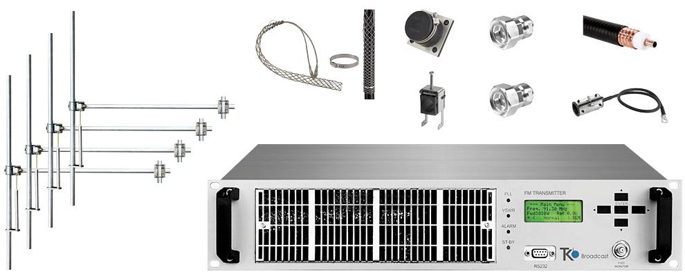 paquet 1,2kw émetteur fm avec 4 baie dipôle fm antennes y accessoires large bande aluminium