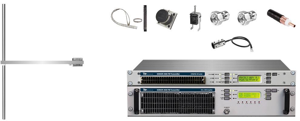 paquet 2kw émetteur fm avec 1 baie dipôle fm antennes y accessoires large bande inoxydable