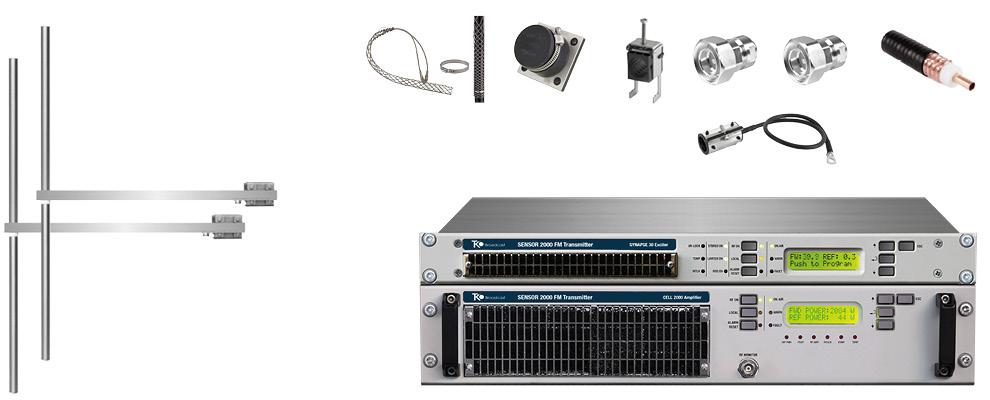 paquet 2kw émetteur fm avec 2 baie dipôle fm antennes y accessoires large bande inoxydable