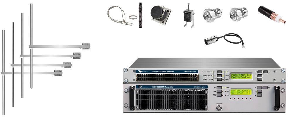 paquet 2kw émetteur fm avec 4 baie dipôle fm antennes y accessoires large bande inoxydable