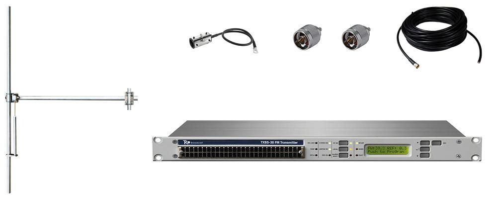 paquet 50w émetteur fm avec 1 baie dipôle fm antenne y accessoires large bande aluminium