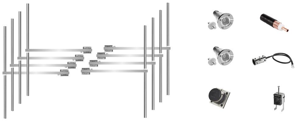 paquet 8 baies dipôle fm antenne et accessoires large bande inoxydable max puissance 15kw