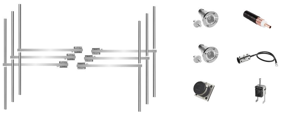 paquete 6 bays dipolo fm antena y accesorios ancha banda inoxidable máx potencia 12kw